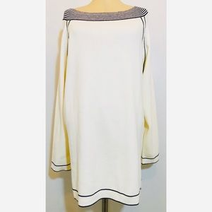 Zenergy By Chico's Ivory Navy Long Sweater Sz 3